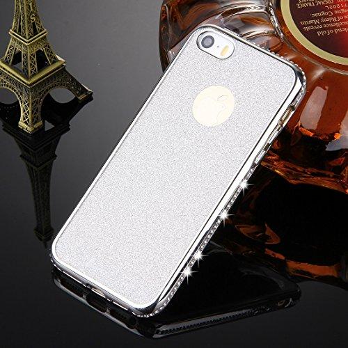 YIHUI Funda Protectora For iPhone SE & 5s y 5 del capítulo Incrustaciones de Diamantes Que electrochapa la Caja Protectora de TPU Polvo de Destello (Color : Silver)