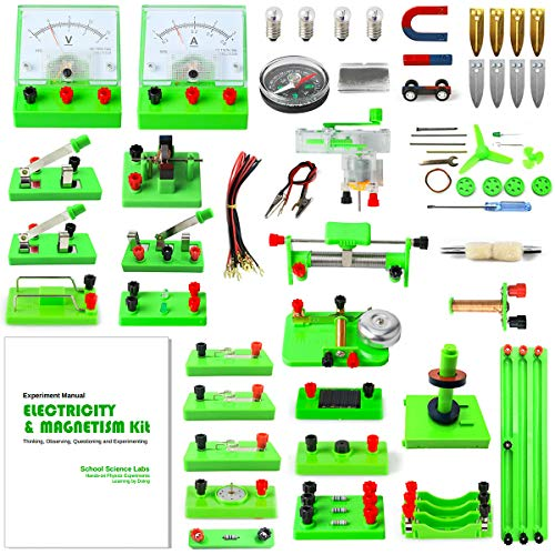 Trobing School Science Labs Basic Physic Electricity Circuit Learning Starter Kit, Magnetism Experiment Education Kits, Electromagnetism Exploration Kit Set for Kids Junior Senior High School Students