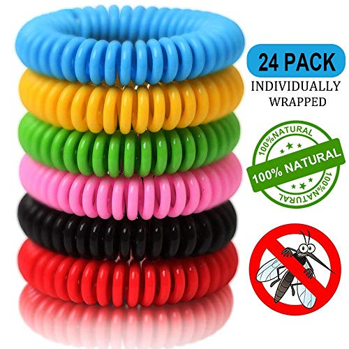 24 Pack Mosquito Repellent Bracelets, Natural and Waterproof Wrist Bands for Adults, Kids, Pets - [Individually Wrapped], Travel Protection Outdoor - Indoor