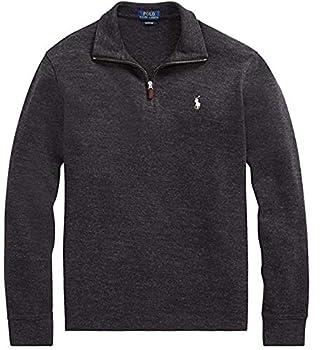 Polo Ralph Lauren Mens Half Zip French Rib Cotton Sweater  Small Blackmarble s