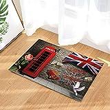 vrupi Me Gustan Las Letras inglesas Londres patrón Cabina telefónica roja Alfombra Moda Rectangular del hogar Hotel Estera Puerta 40 * 60cm Bienvenido Aire Libre Dormitorio Interior Estera Cocina