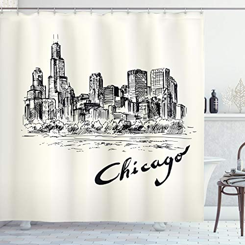 """Ambesonne Chicago Skyline Shower Curtain, Vintage Artwork of American City in Hand Drawn Style Sketchy Effects, Cloth Fabric Bathroom Decor Set with Hooks, 70"""" Long, Black Cream"""