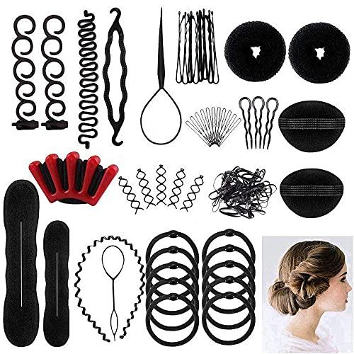 25pcs Haare Frisuren Hilfe Set, Haar Zubehör styling set für Unsterschiedliche Haarestyle,Hair Styling Werkzeug Kit, Mädchen Magic flechthilfe Pads Schaum frisur zubehoer set für DIY