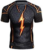 Red Plume Men's Compression Sports Fitness Short Sleeve Shirt Training Workout Base Layers T-Shirt...