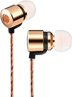 Wired Earbuds 1DD+2BA 3 Drives Hybrid Earphone with Mic HiFi Noise Isolating Stereo in Ear Monitor Headphones Rose Gold