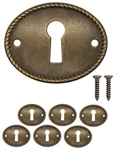 FUXXER - 6 placas de llave antiguas, rosetas de cerradura, herrajes para cerraduras, agujero para llave, diseño vintage de latón, juego de 6 con tornillos, 37 mm x 29 mm, color bronce.