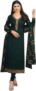 Ethnic Casual Wear Crepe Churidar Salwar Kameez Suit Indian Muslim Women Diwali Festive Unstitch dress 8755
