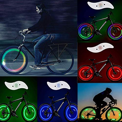 OZUAR - 8 pezzi Luci a LED per raggi delle ruote con batterie incluse, ruota luce bici 100% più luminose e visibili da tutti gli angoli per la massima sicurezza e stile