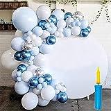DOUBFIVSY Palloncino Kit Ghirlanda con Pompa, 108 Pezzi Kit Arco Palloncini Bianco Blu e D'argento Confetti Palloncini Lattice con 5m Colla Punti per Compleanno, Matrimonio, Anniversario(blu)