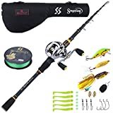 Sougayilang Fishing Baitcaster Combos, Lightweight Baitcasting Combo Fishing Rod and 9+1BB Fishing Reel for Travel Saltwater Freshwater for Beginner—6.9FT Rod and Right Hand Reel with Bag