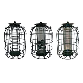Set of 3 Squirrel Guard Hanging Wild Bird Feeders Seeds Nuts & Fat Balls