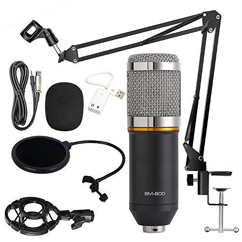 Kondensator Mikrofon Set,Professionell BM-800 Studio Tisch Mikrofon,Aufnahme Microphone,Schall Podcast Studio Rundfunk für Podcast Aufnahme PC Gaming (mit Arm Ständer&Halter, Silber)
