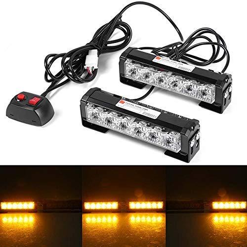 WASTUO 12V 36W Jaune 2 * 6 LED Feux de Pénétration Lumière Stroboscopique pour Voiture Fixation à vis 7 Modes Auto Flash Lampe Clignotant Avertissement Urgence Secours Travaux