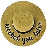 C.C Fun Verbiage Elegant Wide Brim 4\ Summer Derby Beach Pool Floppy Dress Sun Hat Natural (Alcohol You Later)