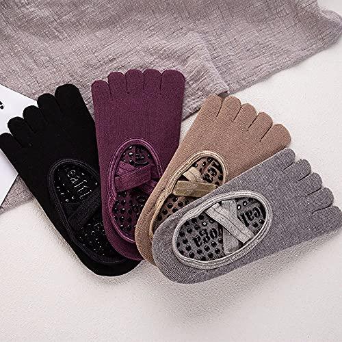 LAMCE Calcetines calcetines de yoga resistentes al desgaste absorbentes del sudor calcetines de barco antideslizantes con fondo de toalla gruesa deportes de algodón antideslizantes multicolor-one size