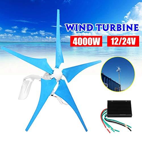 GONGJU 4000W 12 / 24V Windturbinen Windkraftgenerator 5 Windmill Blades Horizontal Generator mit Steuerpult,12V