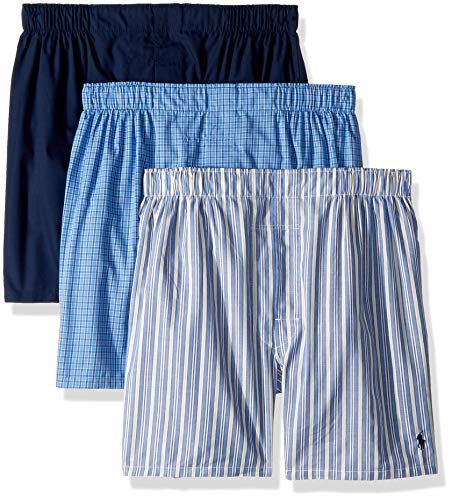Polo Ralph Lauren Classic Fit 3 Packaged Woven Boxers Rimini Stripe/Muller Plaid/Cruise Navy LG