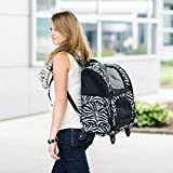 Gen7Pets Convertible Roller Pet Backpack Carrier for Dogs and Cats, Black Geometric, Medium