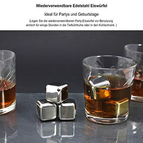 com-four® 18x Edelstahl-Eiswürfel, hochwertige Whisky-Steine, wiederverwendbare Eiswürfelform, Kühlsteine für Whiskey, Wein, Gin & Tonic-Getränke (18 Stück) - 3