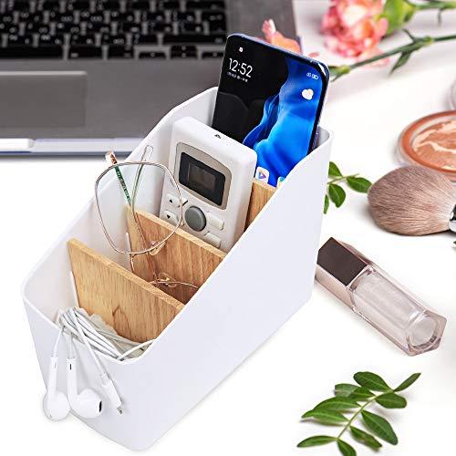 Xnuoyo Fernbedienungshalter Organizer Schreibtisch-Aufbewahrungsbox Abnehmbarer Bambus-Desktop-Organizer 4 Fächer für TV, Receiver, DVD, universelle Ablage, für Schreibtisch, Küche, Bad (4 Gitter)