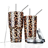 Toopify 30oz and 20oz Stainless Steel Insulated Leopard Tumbler Travel Mug with Straw Slider Lid, Cleaning Brush, Double Wall Vacuum