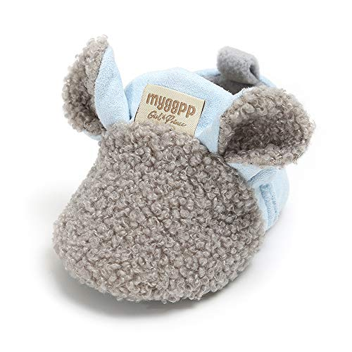 SOFMUO Baby Girls Boys Fleece Booties - Cotton Lining Soft Suede Infant Boots Non-Slip Toddler First Walker Shoes Winter Socks (Grey,0-6 Months)