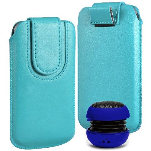N4U ONLINE Premium PU-Leder Flip Pull Tab Hülle Tasche mit Magnetbandverschluss und tragbare Mini-Lautsprecher für Samsung Ch @ t 333 - Hell-Blau
