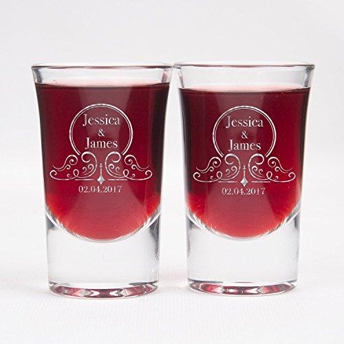 Personalizado vasos de chupito conjunto de 2–Vasos de chupito de cristal transparente personalizada grabada con láser–1,25oz