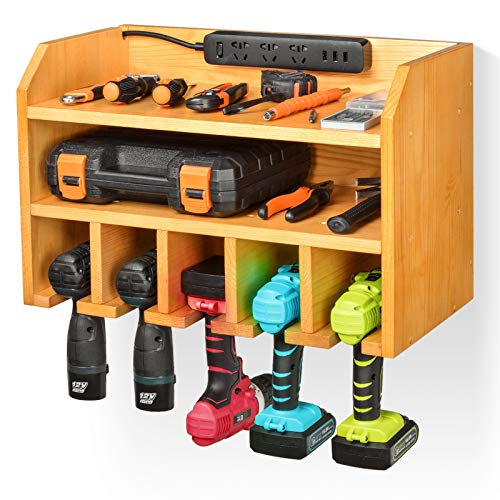 E-shop Power Tool Organizer, Drill Charging Station, Electric Drill Storage Rack with 5 Drill Hanging Slots, Drill Holder Wall Mount Tools Storage for Garage, Home, Workshop
