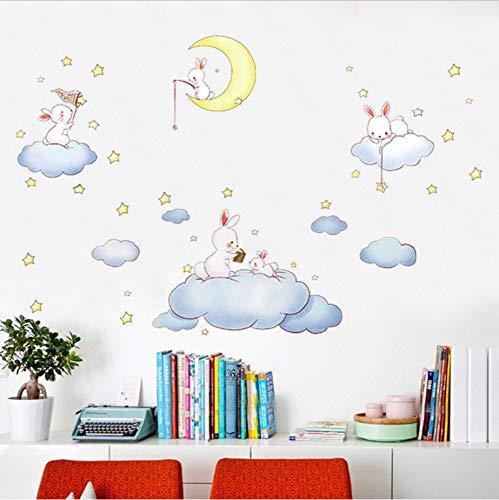 Olvialulu Schöne Kaninchen Wolke Home Wallpaper Luftballon Kinderzimmer Kindergarten Puppenhaus Dekorative Paste Tv Sofa Hintergrund Decals