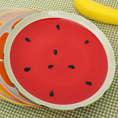 Aliciashouse Hermosa Mano Pintada Placa Fruta sandía limón Placa cerámica Creativa vajilla-sandía