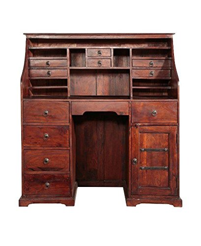 MASSIVMOEBEL24.DE Sekretär Kolonialstil Akazie massiv Möbel Nougat lackiert 128x58x138 cm Oxford #516