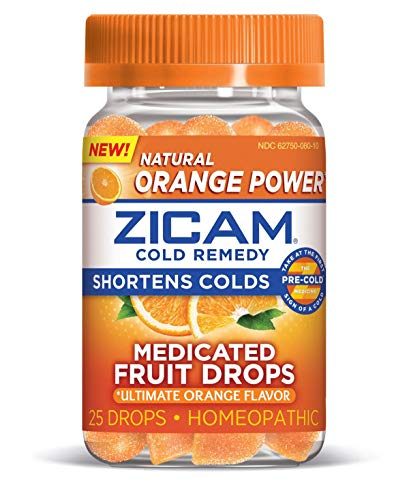 Zicam Cold Remedy Medicated Fruit Drops, Ultimate Orange, 25 Count