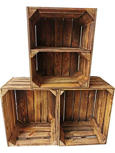 Alte geflammte Obstkisten/Holzkisten 50 x 40 x 30cm in vielen Variationen -Ideal zum Möbelbau oder zur Aufbewahrung- Sehr massiv und stabil verarbeitet (3er Set / 1 Boden Quer)