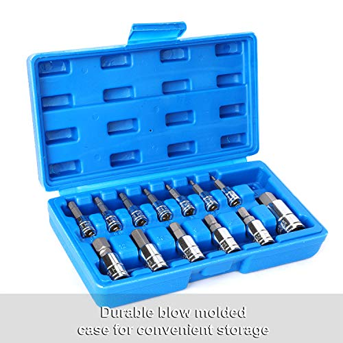 CASOMAN 13 Piece Hex Bit Socket Set, S2 Steel Bit Socket Tool Kit, Metric, 2mm-14mm, Allen Bit Socket Kit