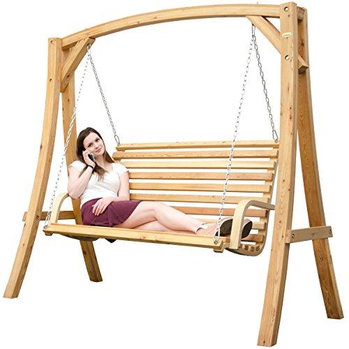 Hollywoodschaukel aus Holz Lärche Gartenschaukel Set Holzgestell mit 3-sitzer Holzbank Für Innen und Außen - 2