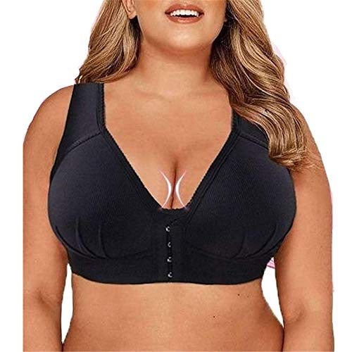 MASI Bra - Plus Size Front Closure Elastic Push Up Comfort Bra, Bras for Women, Full Coverage for Best Support (36/80CD, Black)