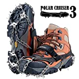 Crampons Upgraded 19 Spikes with 304 Stainless Steel Chain Ice Snow Grips Traction Cleats System Safe Protect for Walking, Jogging, or Hiking on Snow and Ice (Fit S/M/L/XL/XXL Shoes/Boots)