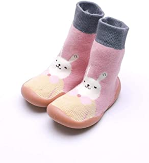 LiuQ, Bebé Calcetines Zapatos del niño recién nacido calcetín interior calcetines del bebé del algodón de Terry otoño de la niña de calcetín con suelas de goma infantil Animal Gato divertido del calcetín