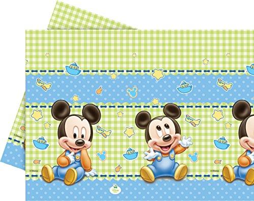 Unique Party 71987 - Mantel de plástico para bebé Mickey Mouse, 1,8 x 1,2 m