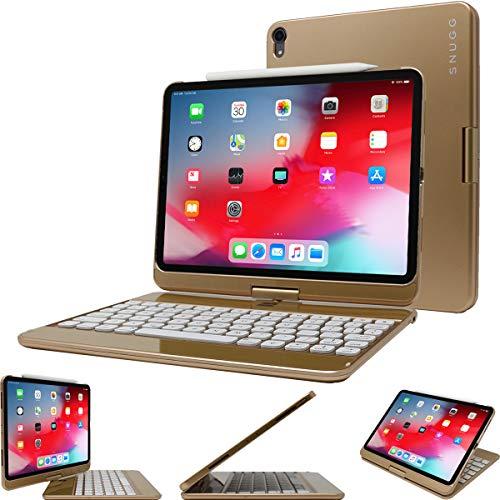 Snugg Tastatur für iPad 12.9 2018 von kabellose, hintergr&beleuchtete Bluetooth-Tastatur, Cover 360° drehbare Tastatur für Apple iPad 12.9 2018 - Gold