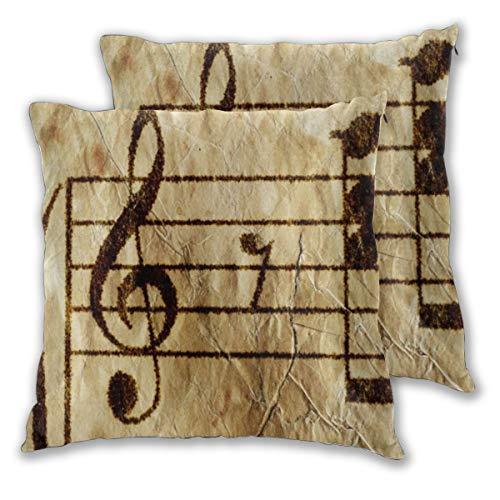 YUDILINSA Fundas de Cojines,Nota Piano Partitura Antigua Resumen Partitura de Guitarra Vintage Corrección de Estudio Antiguo,Fundas de Almohada Decorativas para sofá Dormitorio hogar Hotel 65x65cm