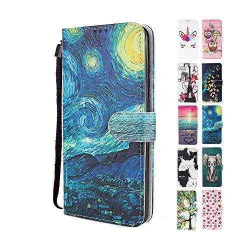 UCool für Samsung Galaxy S5 Hülle PU Leder Flip Klappbar Lederhülle Schutzhülle 3D Star Sky Ölgemälde Bunt Muster Wallet Cover Flip Hülle Handyhülle mit Kartenfach Tasche Etui