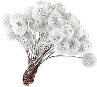 EPRHAY - Corona de Flores Artificiales de Bayas de Navidad esmeriladas (13 cm, 200 Unidades), Color Plateado