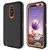 LG Stylo 4 Case, LG Stylo 4 Plus Case, LG Q Stylus Case Heavy Duty Built-in Screen Protector Defender Armor Shockproof Cover High Impact Resistant Rugged case for LG Stylo 4 Black/Orange