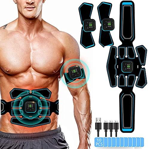 Yongge EMS Bauchmuskeltrainer, EMS Trainingsgerät, Bauchtrainer Elektrisch für Bauch, Arm, Bein-Fitness Trainings Gang,USB-Wiederaufladbarer Tragbarer Muskelstimulator