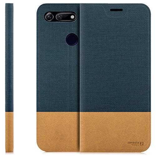 zanasta Tasche kompatibel mit Huawei Honor View 20 Hülle mit Kartenfach Flip Hülle Slim Schutzhülle Handytasche, Standfunktion | Blau