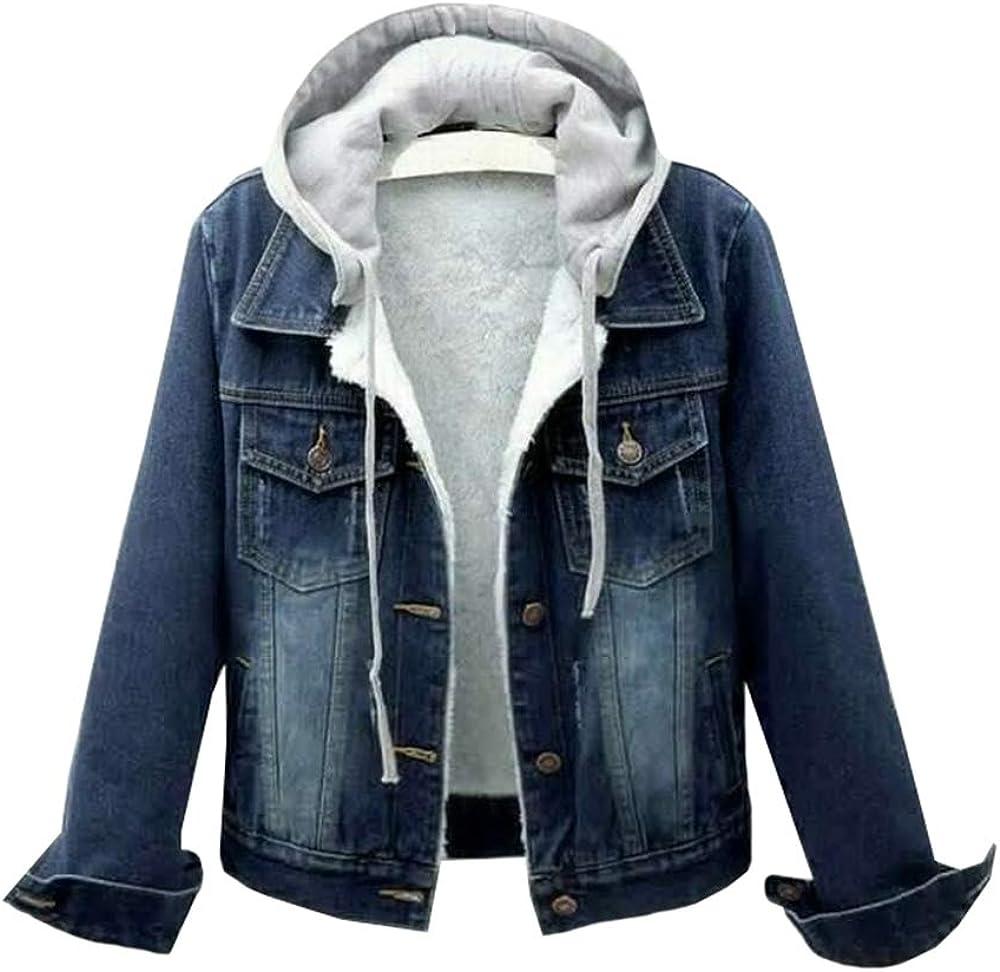 Women Drawstring Hooded Fleece Lined Denim Jackets Short Jean Outwear Coat Thicken Warm