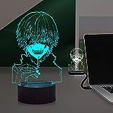 Laysinly Tokyo Ghoul Kaneki Ken 3D Luz de noche lámpara LED 4 modos 16 cambio de color táctil Control remoto Base USB AA lámpara de campamento para niños portátil sueño cabecera