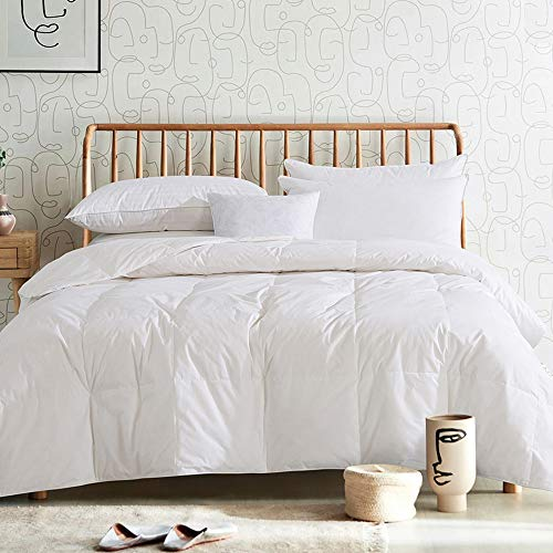 Cosybay 100% Cotton Quilted Lightweight Down Comforter White Goose Duck Down and Feather Filling – Thin Duvet Insert or Stand-Alone for Summer – Full Size (82×86 Inch)